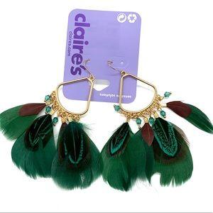 Gold green feather drop dangle earrings